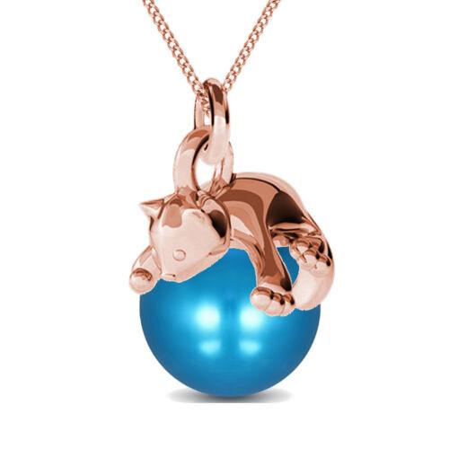 Halskette Katze mit Kugel Anhänger 925 Echt Sterling Silber Damen Mädchen Kette