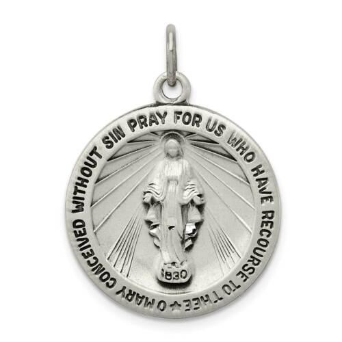 Sterling Silver Antique /& Diamond-cut Reversible Miraculous Medal Charm Pendant