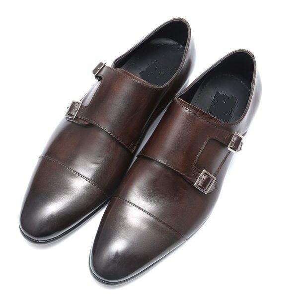 Handmade Men brown double monk shoes, Men brown formal shoes, Men dress shoes