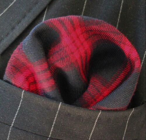 Hankie Pocket Square Cotton Handkerchief Black with Red CH103