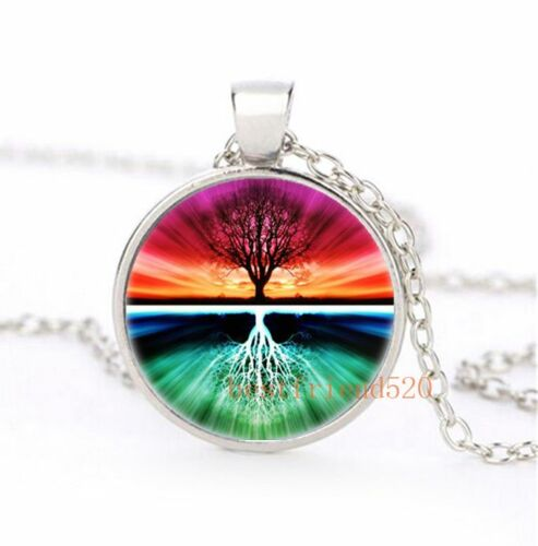 Tree of life Cabochon Glass Silver Necklace for men woman jewelry