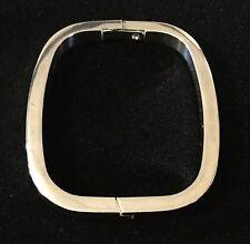Vintage Sterling Sliver Modernist Rectangular Hinged Bangle Bracelet