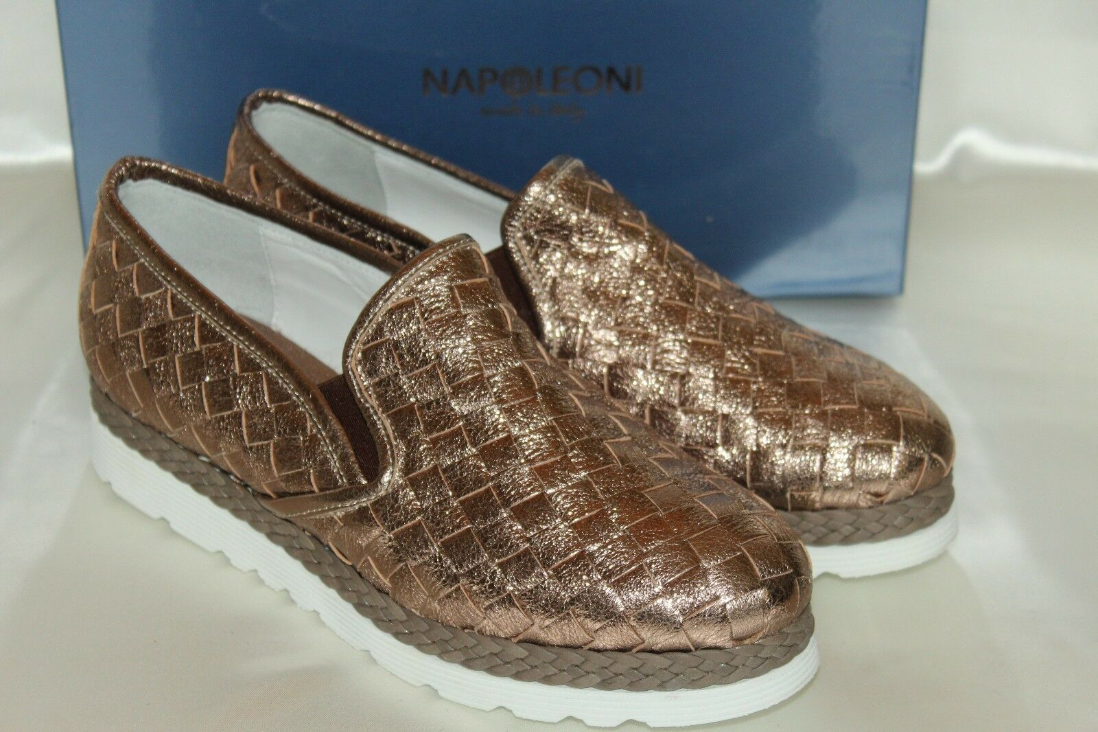 NEW! NIB! NAPOLEONI Woven Metallic Rose Gold Platform Leather Platform Gold Loafers EU39 ITALY 853ff2