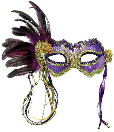 Viola Metallico COSTUME MASCHERA mascherato Ball lato PIUMA MASCHERA Masquerade