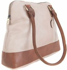 Gigi  Two Tone Bone/Mid Brown Soft Leather Shoulder Handbag 8701 pls read desc