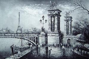 Dream-art Oil painting Paris Street scene - black and white landscape hand paint