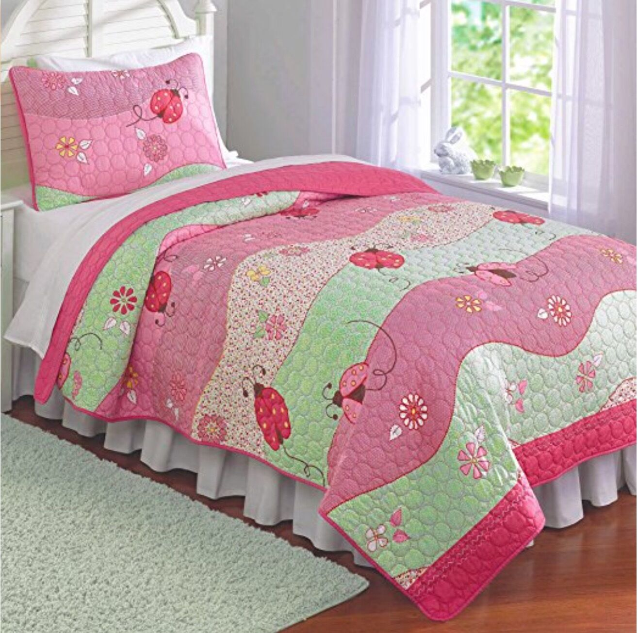 Laura Hart Kids 3 PC Complet Queen Duvet Shams Set  FLORAL les coccinelles rose  Nouveau