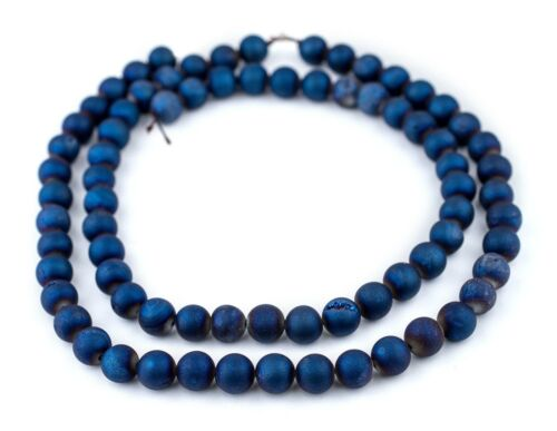 Blue Round Druzy Agate Beads 10mm Gemstone 16 Inch Strand