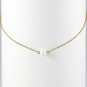 14K-Gold-Plated-Single-Pearl-18-034-Necklace-Jewelry-Womens