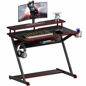 Carbon Fibre Gaming Desk - Z-Shaped with Monitor Riser Cup & Headphone Holder