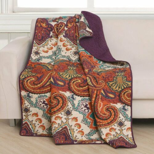 "Greenland Home Fashion Nirvana Reversible Accessory Throw Blanket 50x60/"" Spice"