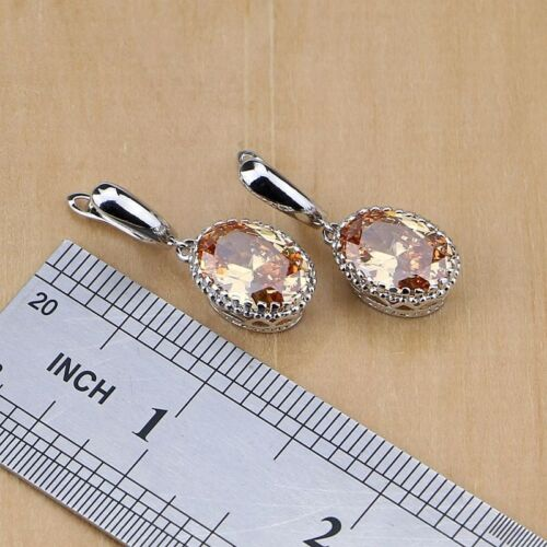 Jewelry set Champagne Morganite Argent Sterling 925 Ovale Premium Cadeau Mariage