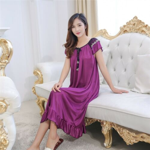 Women Night Sleepwear Long Sleeping Dress Luxury Nightgown Summer Home Wear