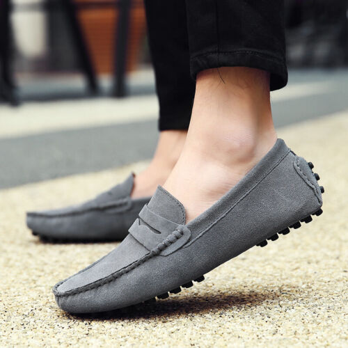 Fashion Suede Soft Flat Men Driving Moccasins Casual Walk Dating Slip on Loafers