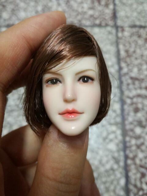 """Female 1//6th scale head sculpt Super Duck cheveux noir fit 12/"""" figure corps Toys"""