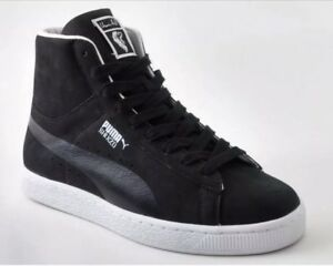 the latest b8c44 22ec7 Details about Puma X Usain Bolt Shinzo Suede Mid Sneakers Black 353295 Mens  12 High Top Shoes