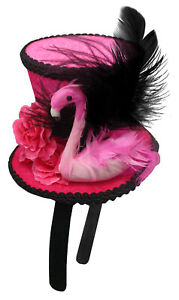 Women's Pink Flamingo Mini Hat Headband Fascinator Mardi Gras Costume Accessory