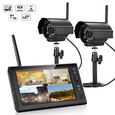 """2.4GHz 7"""" TFT LCD 4CH DVR Wireless In/Outdoor Home Security System + IR Cameras"""
