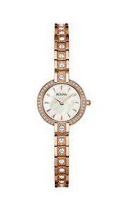 Bulova-Women-039-s-98L215-Quartz-Crystal-Accent-Rose-Gold-Tone-Bracelet-22mm-Watch
