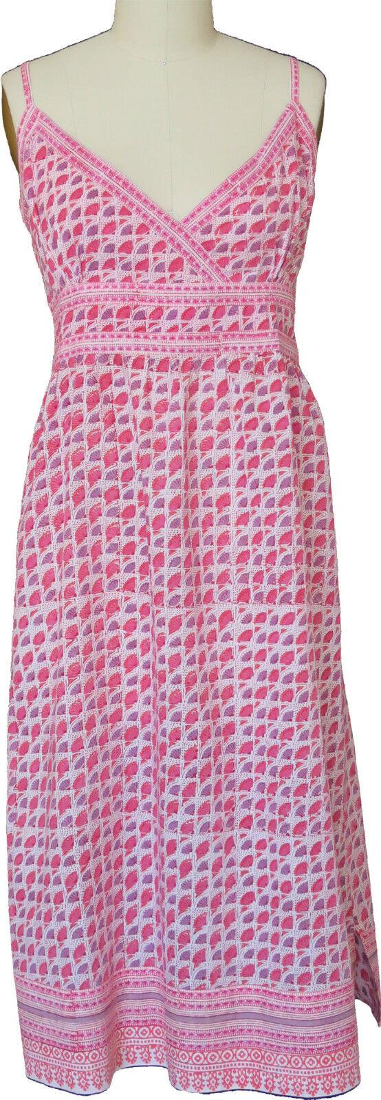 Anokhi rosa & Lavanda Vestito Sagomato in un Stampa - - - Orlo Profilo - 100% Cotton 258e4f