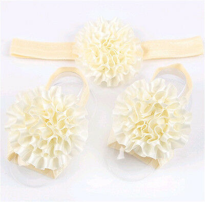 1set/3Pcs Baby Infant Headband Foot Flower Elastic Hair Band Accessories Beige