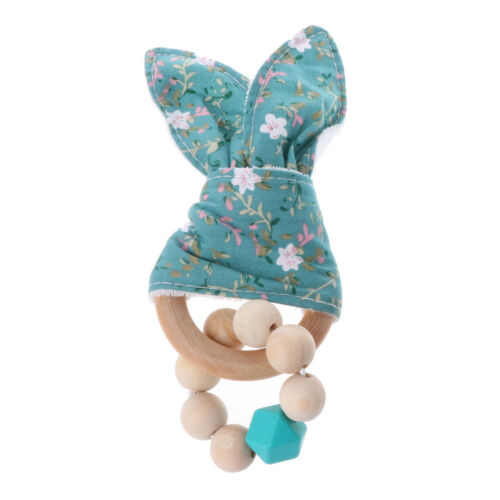 Christmas Baby Boy Bunny Ear Teether Safe Organic Wood Teething Ring Shower Toy