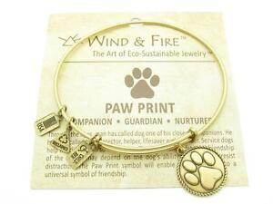 Wind-and-Fire-Paw-Print-Charm-Wire-Bangle-Stackable-Bracelet-Made-In-USA-Gift