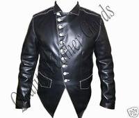 Genuine Handmade Mens Military Style Premium Leather Steampunk Jacket in BLACK