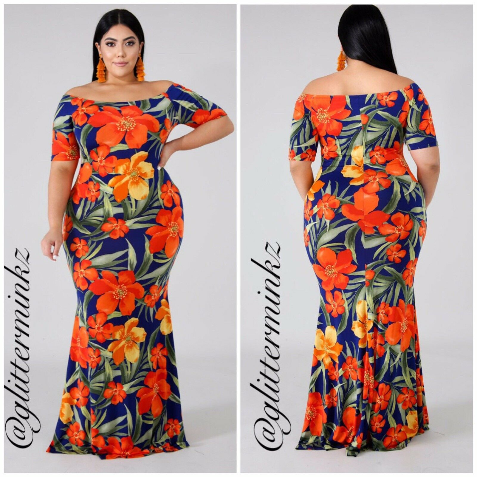 LaDieS Plus Size Off Shoulder Poppy Floral Formal  Evening Dress Size 1XL 14-16