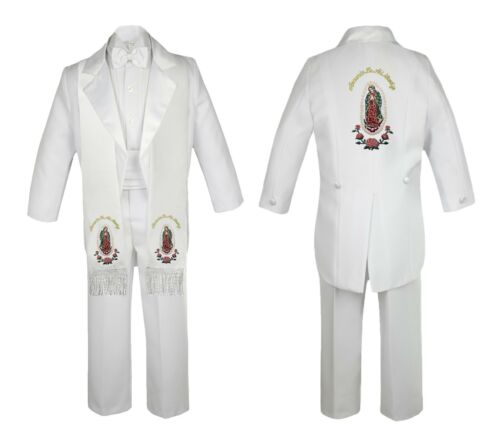 Baby Boy Baptism Formal White Tail Suit Gold Guadalupe On Stole Back SM-20