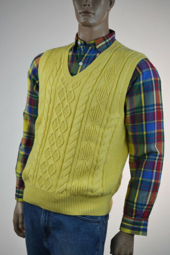 Ralph Lauren Fall Yellow  Cableknit Cotton/Cashmere Sweater Vest/ -NWT -Ret $145