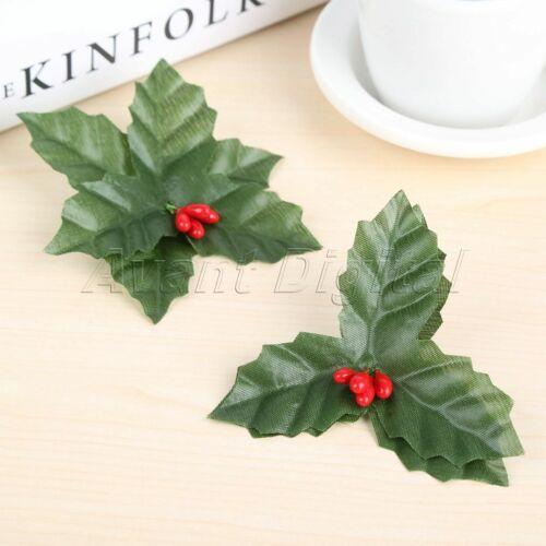 Holly Bayas artificiales Hoja Mini Decoración Navidad Flor Hojas De Seda 10Pcs