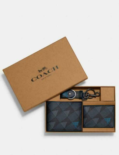 Coach Boxed 3-IN-1 Wallet Gift Set With Check Geo Print 2826 ⏩ ~ NWT