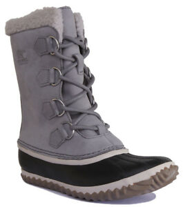 100% high quality professional sale fashion style Sorel Caribou Slim Womens Nubuck Leather Snow Boots in Stone Grey ...