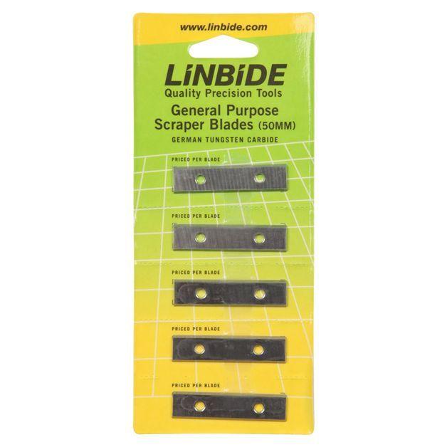 Linbide SCRAPER BLADES 50mm Paint Putty German Tungsten Carbide 5pcs