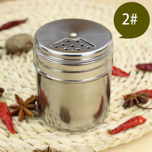 Stainless Steel Spice Bottle Cruet Salt Pepper Seasoning Condiment Box BBQ