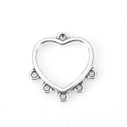 20 x Antique Silver Chandelier Heart Earring Hook Findings Earring Hoops