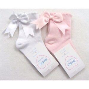 Beautiful-Spanish-Romany-style-Short-Pink-or-White-Bow-Socks-by-Kinder-UK-made