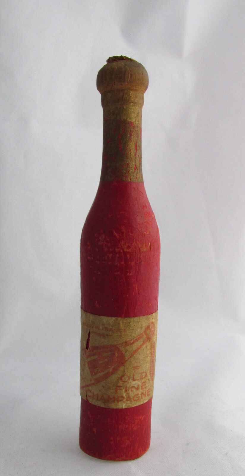Francés Antiguo Madera Tallada De Pino Champange Botella Con Etiqueta silbato de juguete