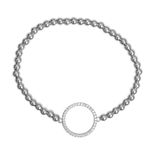 SILVER Circle Diamante Braccialetto Stretch
