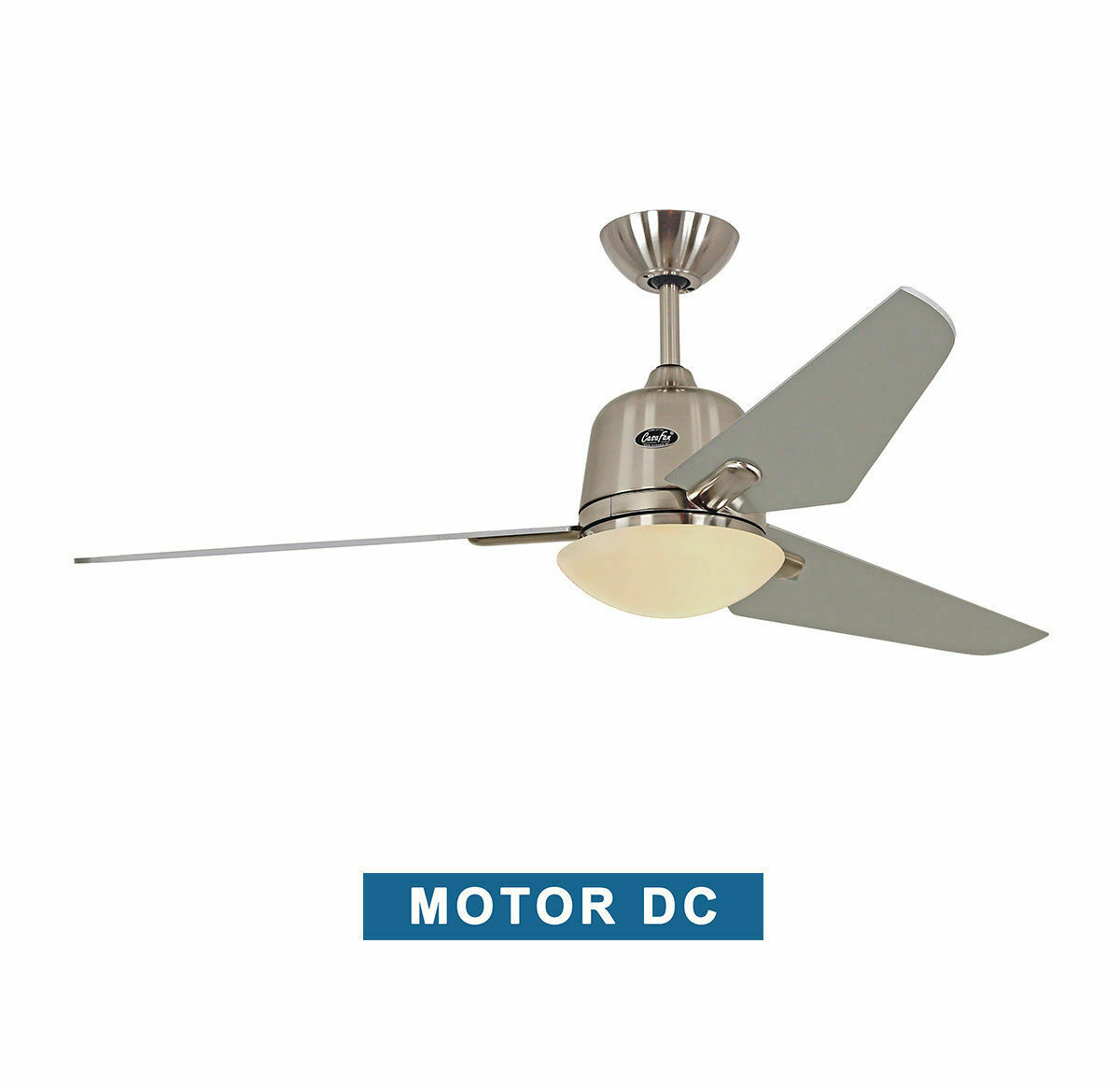 Ceiling fan with light CasaFan 513285 ECO AVIATOS silver gray / chrome