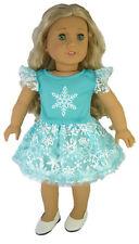 """Aqua Tutu Snowflake Dress for 18"""" American Girl Doll Clothes Elsa Frozen"""