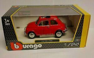 BURAGO SCALA 1/24 - FIAT 500L 1968 Giallo Modello Diecast Auto 22099