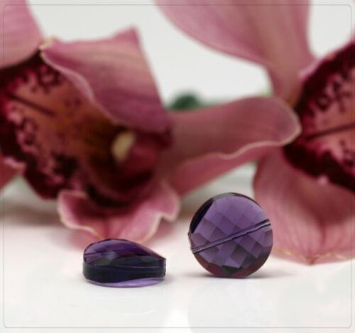 2x Glas Perlen Kristallperlen Beads Schmuck DIY Basteln facettiert Lila 18mm
