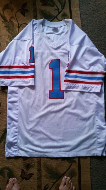 Vintage NFL Houston Oilers Warren Moon Jersey Polyester White  1  5c74291fa