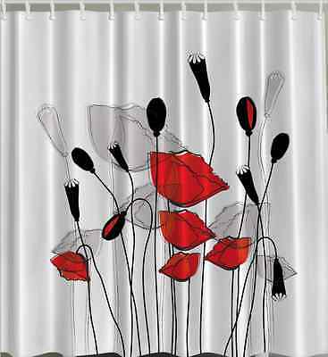Red Black White SHOWER CURTAIN Fabric Flowers Poppy Veteran Bathroom Bath Hooks
