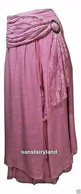 Pretty Angel Size S Pink Boho Skirt Lined Ruffles Antique Buckle 27114 NWT
