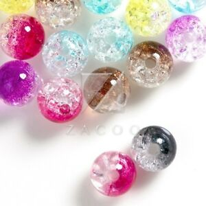 57pcs Acrylic Beads Transparent Faceted Round Jewelry Making 8x8x8mm Multi-Color
