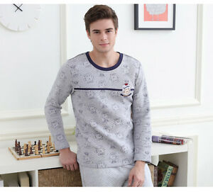 Men-039-s-Cartoon-Cotton-Gray-Long-Sleeve-Pants-Sleepwear-Pajamas-S-M-L-XL-XXL-amp