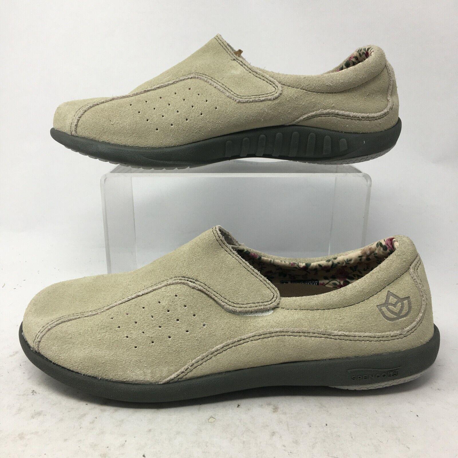 Spenco Womens 7 Casual Loafers Slip On Comfort Shoes Beige Leather Hook & Loop
